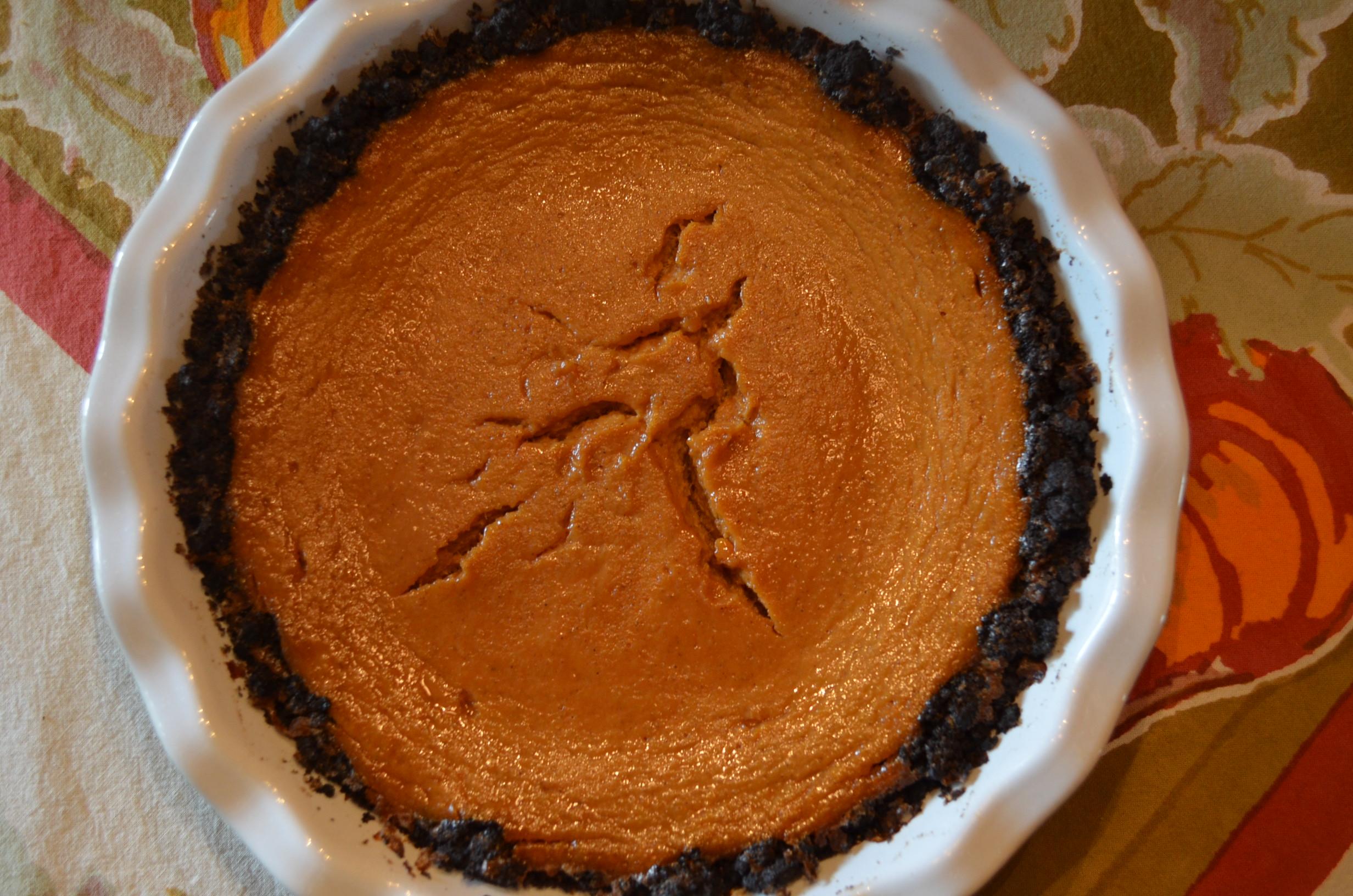 Table: Double Decker Pumpkin-Caramel Pie | Hospitably Yours