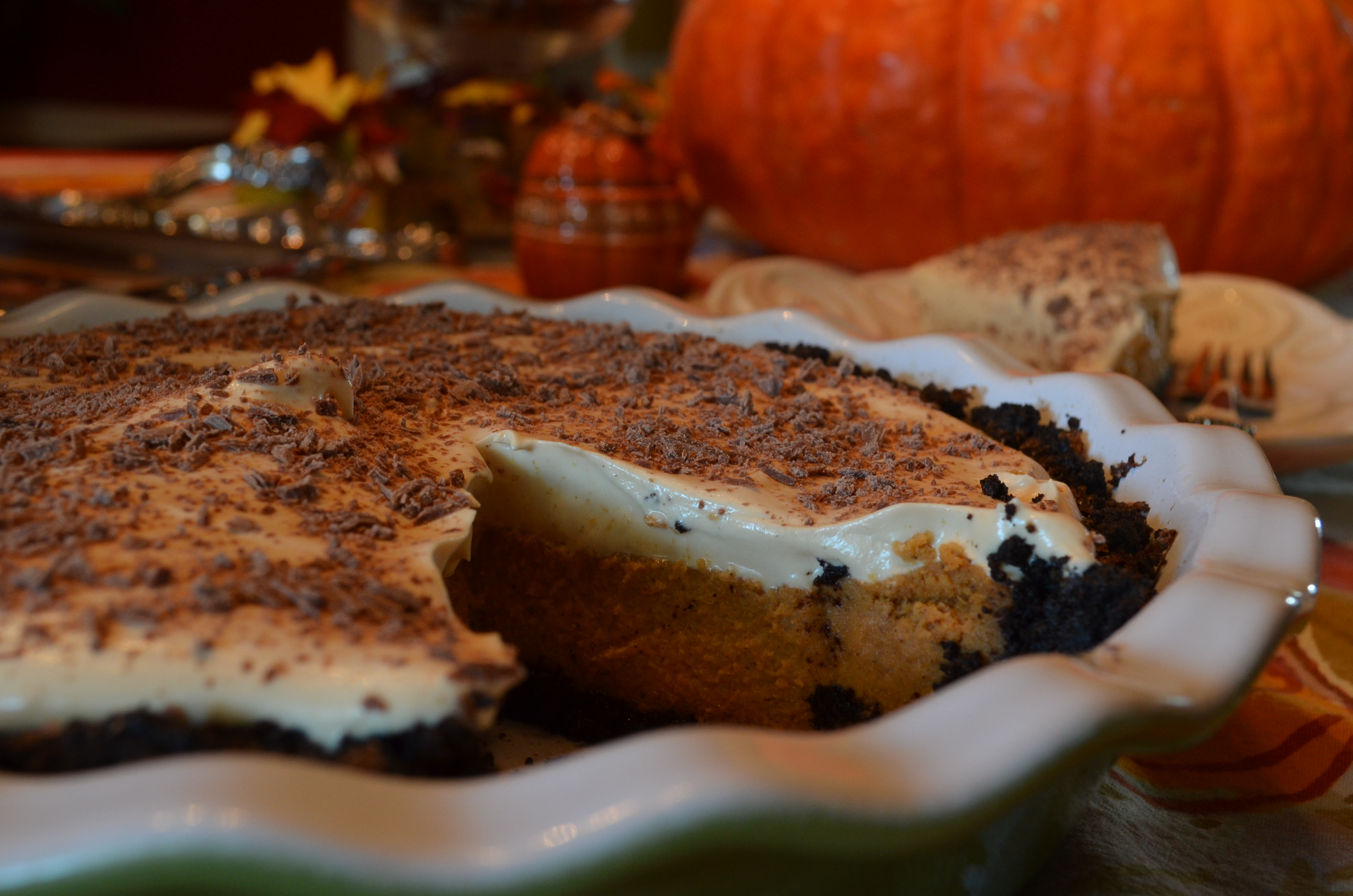 Table: Double Decker Pumpkin-Caramel Pie | Hospitably Yours